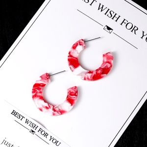 Jewelry - Red & White Acrylic Statement Circle Hoop Earrings